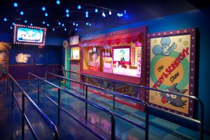 Pre-Show Area 1 of The Simpsons Ride at Universal Studios Hollywood.