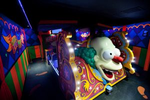 Ride Vehicle of The Simpsons Ride at Universal Studios Hollywood.